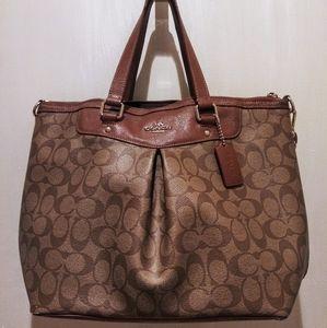 Coach | Signature Pleated Brown Tote Logo Handbag